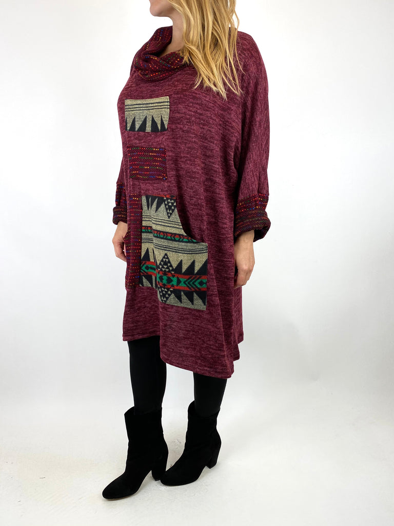 Lagenlook Nao Rainbow Aztec Top in Wine .code 9545 - Lagenlook Clothing UK