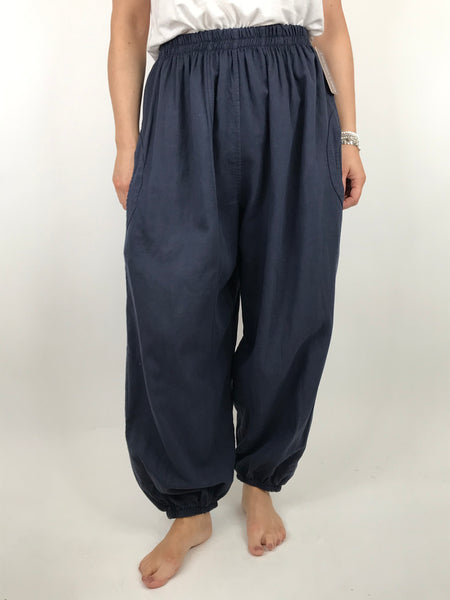 Lagenlook Charlie New Length Wide leg Linen Trousers in Navy. code 91037
