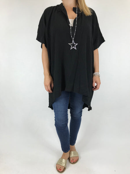 Lagenlook Bella Cotton V-Neck in Black. code 0200