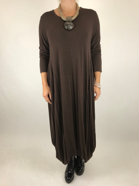 Lagenlook Tilly Long Jersey Tunic in Brown. code 1553
