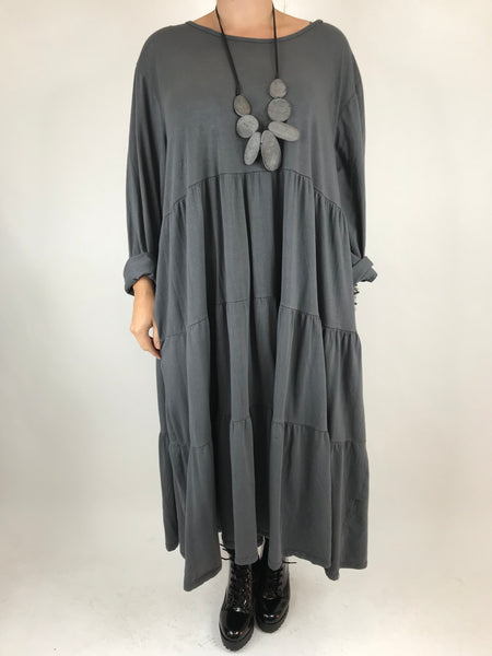 Lagenlook Evie Plain Tunic In Charcoal. code p9788