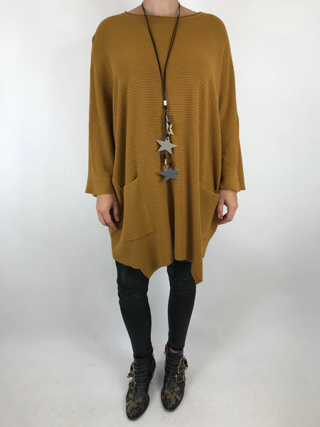 lagenlook Lola Oversized Jumper In Mustard. code 5361