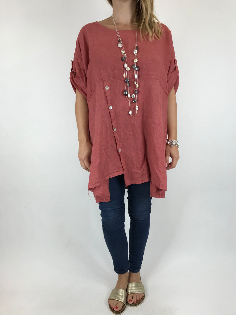Lagenlook Lydia button Top in Dark Salmon.  code 5711