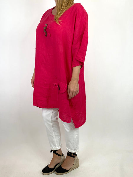 Lagenlook Bea Linen Top In Fuchsia. code 9782