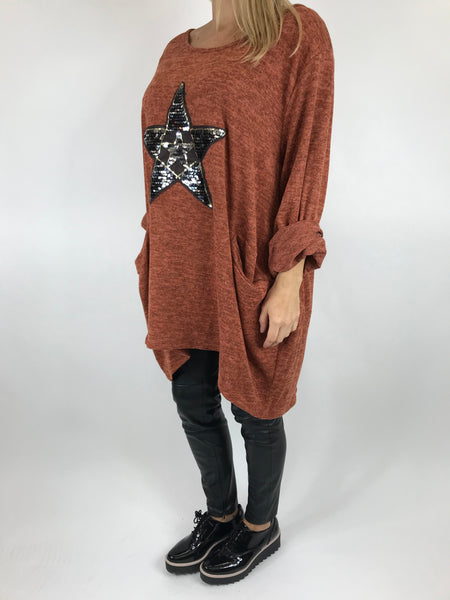 Lagenlook Star  Brushed Fleck Tunic In Rust. code 74766