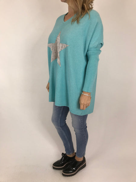 Lagenlook Kiana Star knit Jumper in Topaz Blue. code 609
