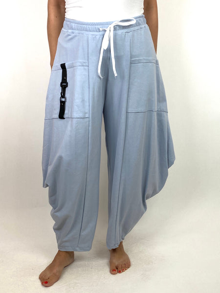 Lagenlook Wide Angle leg Sweat pants Trousers in Sky. code 4040