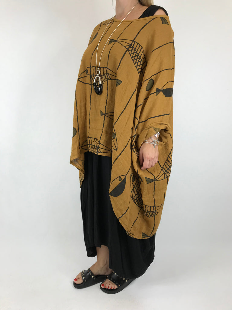 Lagenlook Linen Quirky Print Poncho Top in Tan. Code 18057