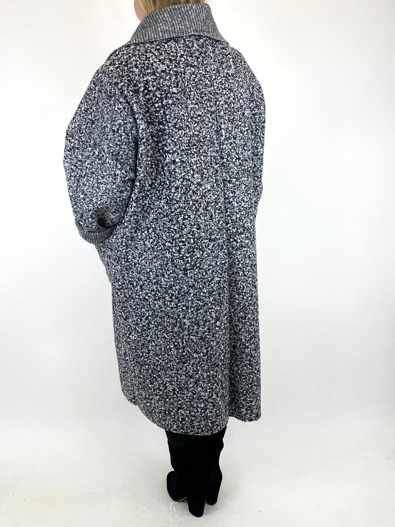 Lagenlook Waterfall Boucle Coat in White Black Fleck. code 6360 - Lagenlook Clothing UK