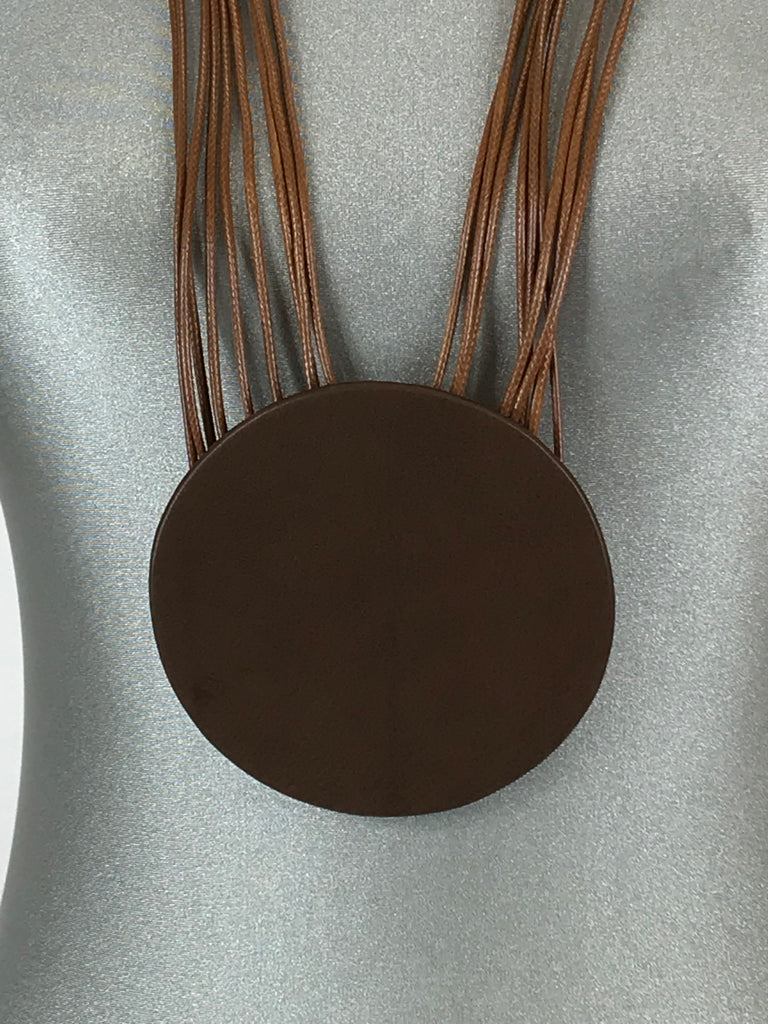 Lagenlook Leather Disc long  Necklace in Camel. Code L11