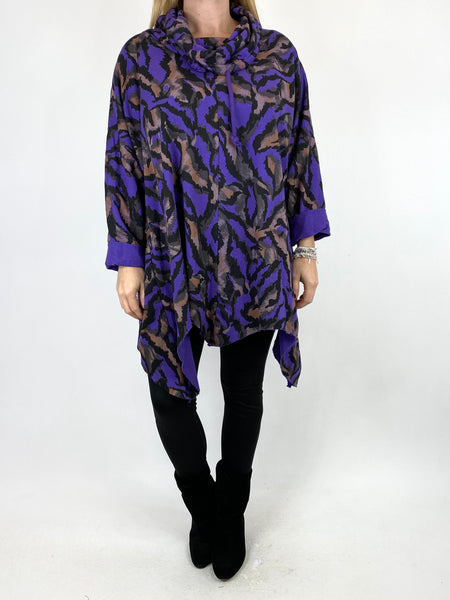 Lagenlook Animal Print Cowl Top in Purple. code 50002