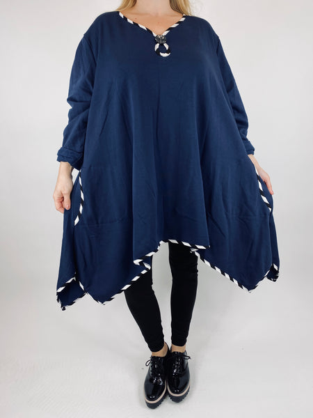 Lagenlook Polly Quirky Stripe Button Top in Navy. code AB129