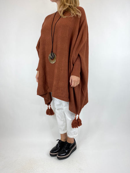 Lagenlook Ella Tassel Jumper in Rust code 6045