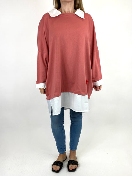 Lagenlook Cassie Cotton Shirt Top in Old Rose. code 91205 - Lagenlook Clothing UK