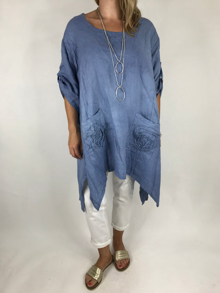 Lagenlook Ellen Swirl Flower Linen in Denim. code 008