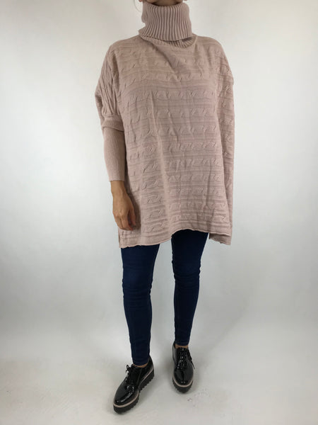 Lagenlook Beth Poncho Cable Textured Jumper in Pink. code 5106