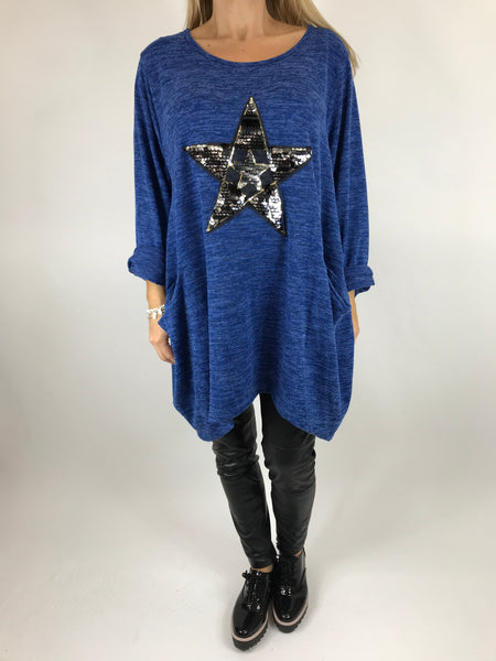 Lagenlook Star  Brushed Fleck Tunic In Royal. code 74766
