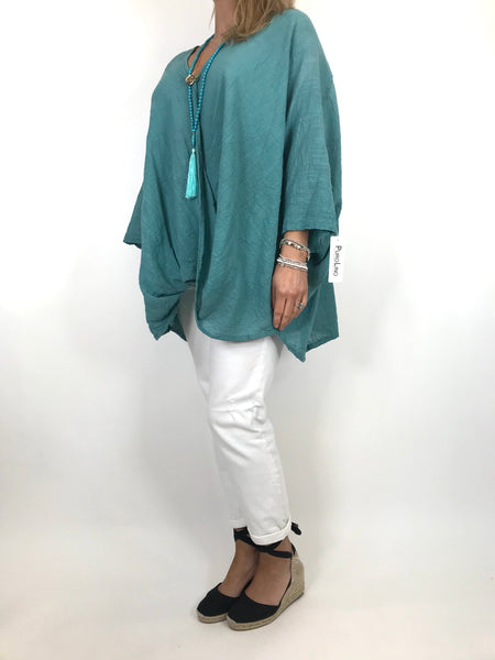 Lagenlook Linen Wrap Top in Sage Green. code 2087