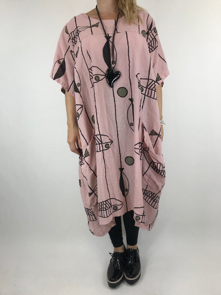 Lagenlook Linen Blend Quirky Patterned Tunic in Pale Pink. code 39113