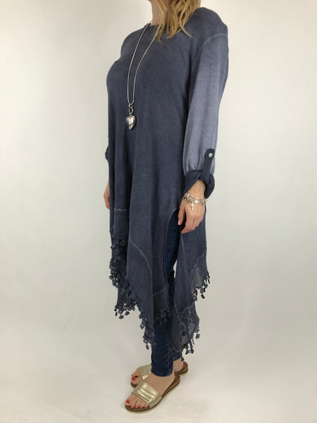 Lagenlook Bea Cotton Wash Colour Jumper in Navy. code 5981