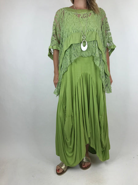 Lagenlook Lace Poncho Top in Green.code 1452