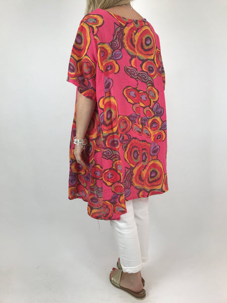 Lagenlook Circle Pattern Top in Fuchsia. code 90409