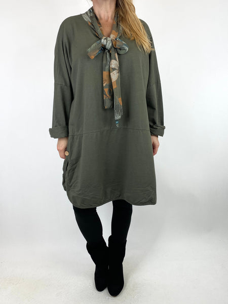 Lagenlook Alice Scarf Button Top in Khaki. code 10559