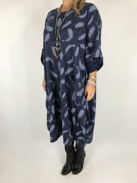 Lagenlook Feather Print Tunic In Navy. code 8849