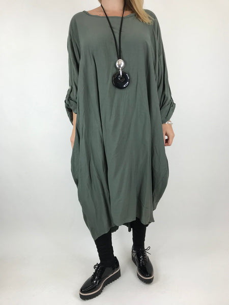 Lagenlook Beckan Knot Back Tunic in Khaki. code 6037