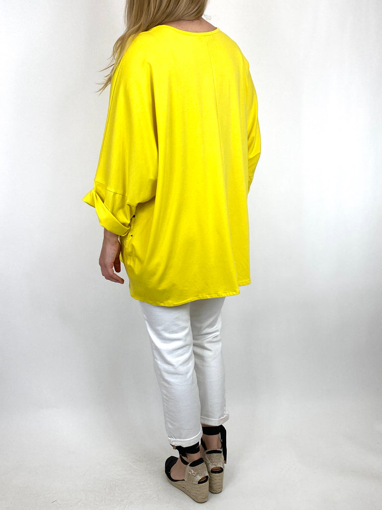 Lagenlook Delta Print Cotton Top in Yellow. code 6556