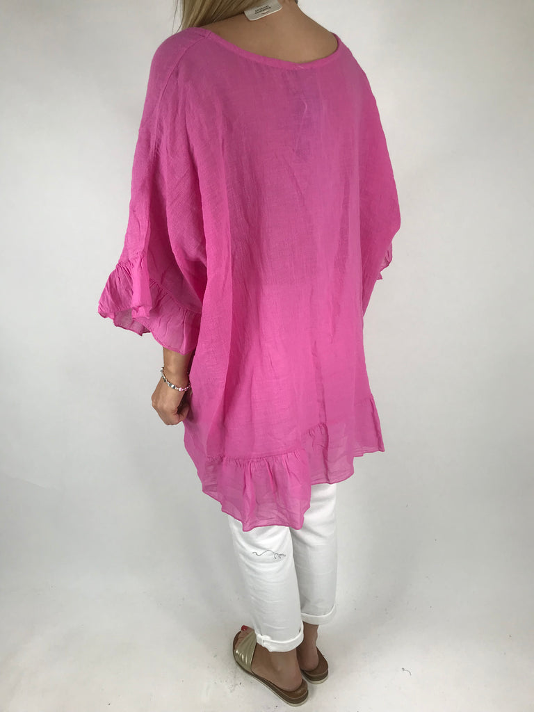 Lagenlook Palm Ruffle Linen Top In Fuchsia. code 5263