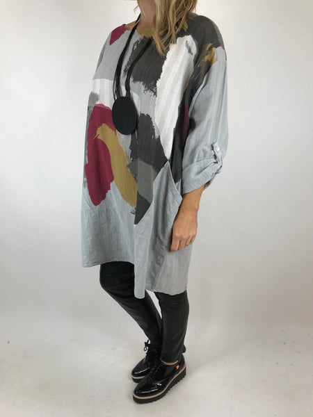 Lagenlook New Paint Splatter Top in Pale Grey. code 9763
