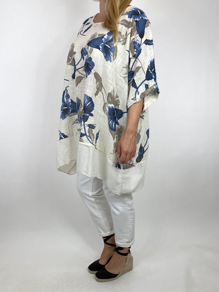 Lagenlook Ami Flower Cotton Top in Cream. code 89425
