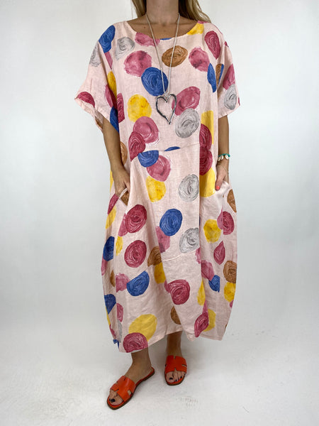 Lagenlook Wimborne Paint Dot Tunic in Pink. code 7688