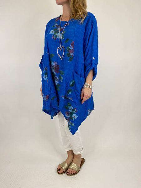 Lagenlook Cotton Flower panel top in Royal Blue. code 92201