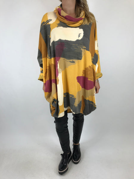 Lagenlook Cowl Neck Paint Splash Print Top in Mustard. code 9810 - Lagenlook Clothing UK