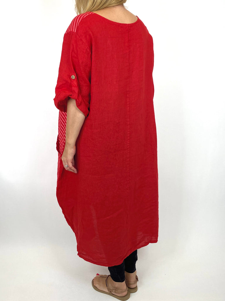 Lagenlook Claudia Button and Stripe Linen Tunic in Red. code 10377