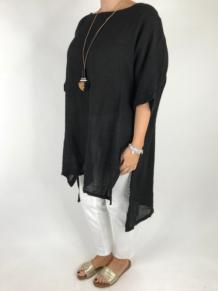 Lagenlook Alto Linen Top in Black. code 5773