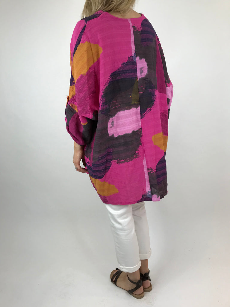 Lagenlook Mia Paint Splash Print Top in Fuchsia Pink. code 90754