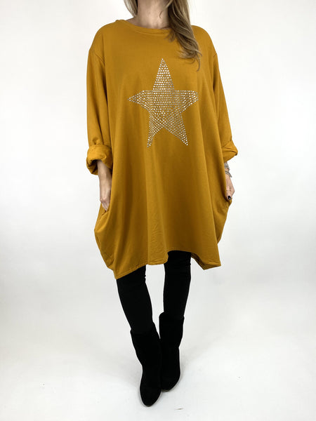 Lagenlook Stud Star Sweatshirt Top in Mustard. code 91199 - Lagenlook Clothing UK