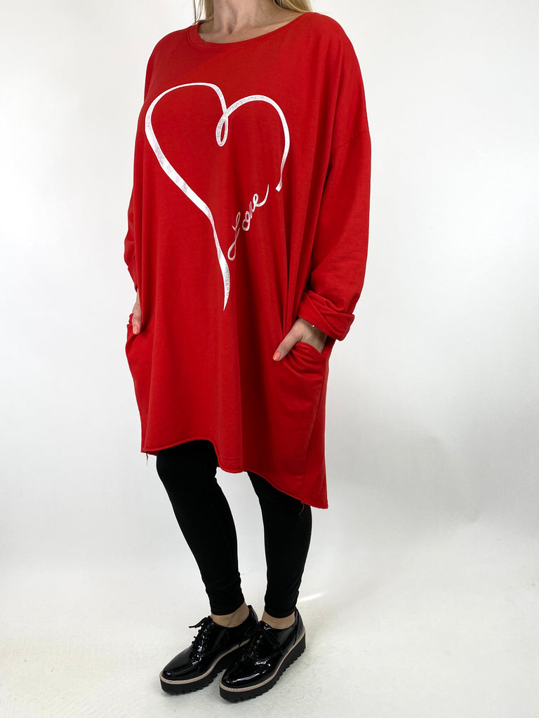 Lagenlook Love heart Sweatshirt in Red. code 10558 - Lagenlook Clothing UK