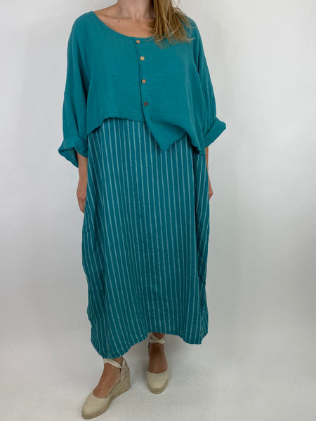 Lagenlook Lucy Stripe Over tank Tunic in Peacock Green. Code 88213