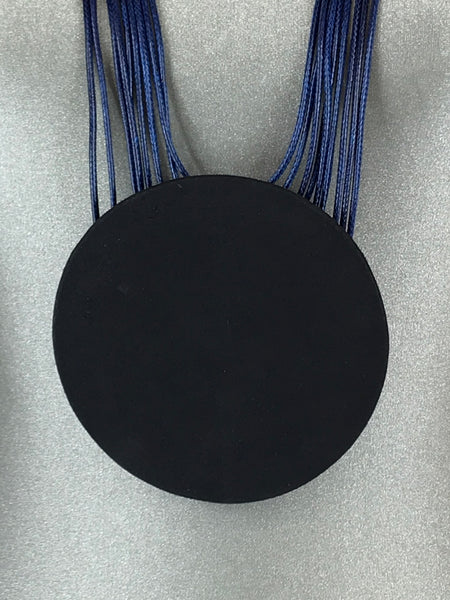 Lagenlook Leather Disc long  Necklace in Navy. Code L11