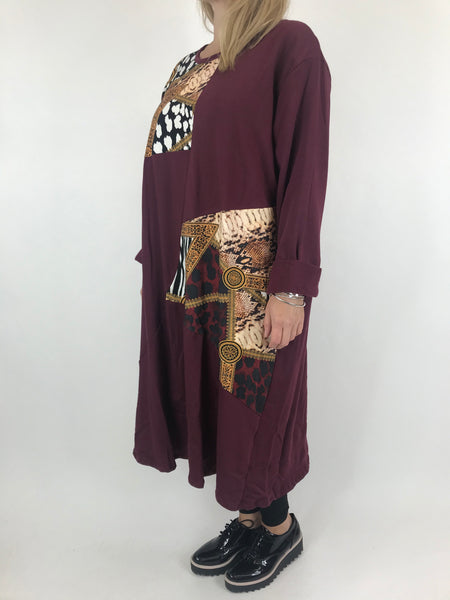 Lagenlook Donny Chain Print Patch Tunic in Wine. code AB610