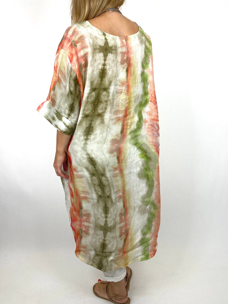 Lagenlook  Bernie Tie-Dye Linen Tunic in Khaki/peach Mix . code 9611