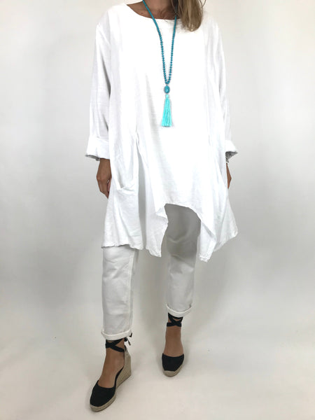 Lagenlook Libby Pocket Side Top in White. code 6500