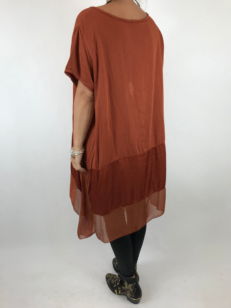 Lagenlook Nina Made in Italy Silk Hem tunic in Rust . code 7708