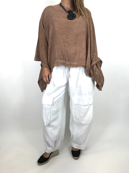 Lagenlook Raw Edge Short Linen layering top in Mocha. code 02246