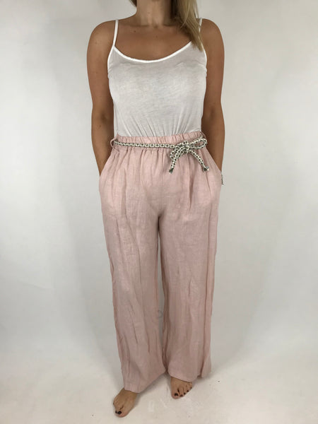 Lagenlook Polly Slim leg Linen Trousers in Pale Pink. code 7354