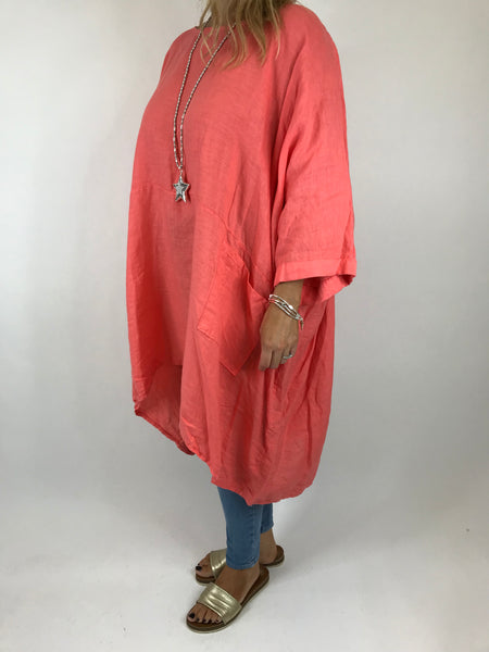 Lagenlook Linen Plain Poncho Top in Coral . code 5699